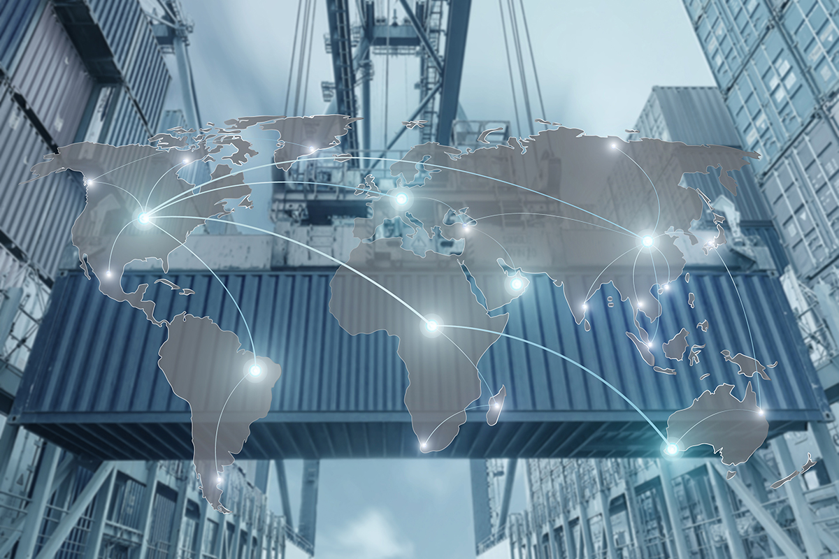 Import, Export, Logistics concept - Map global partner connection of Container Cargo freight ship for Logistic Import Export background (Elements of this image furnished by NASA)