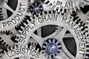 Macro photo of tooth wheel mechanism with SUPPLY CHAIN MANAGEMENT, PRODUCT, LOGISTICS, SYSTEM, PROFIT, PLAN and NETWORK words imprinted on metal surface