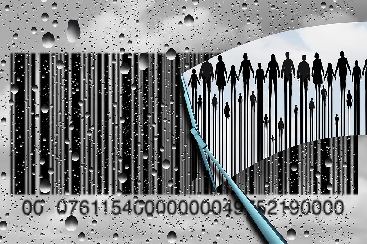 Consumer research concept and customer retail shopping trends as a cloudy rain soaked window with a bar code and a wiper clearing the confusion to reveal real clientele as a business metaphor with 3D illustration elements.