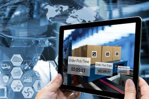 Industry 4.0,Augmented reality and smart logistic concept. Hand